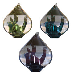 Glass ornaments isolated on white, 3d render.