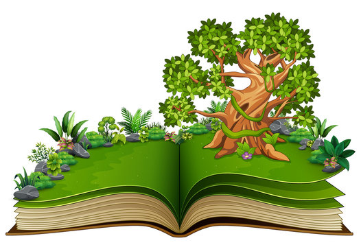 Open book with tree and green plant of nature background