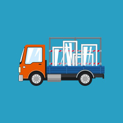 Orange Truck Transports Windows , Lorry Isolated on a Blue Background, Transportation and Cargo Delivery Services, Logistics, Shipping and Freight of Goods, Vector Illustration