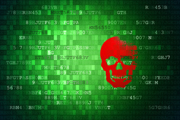 Scull on green digital background. security concepts