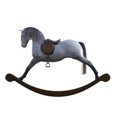 Toy rocking horse isolated on white, 3d render.