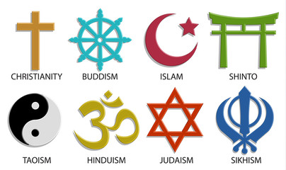 world religion symbol icon set on white background, 3D vector color style Fototapete