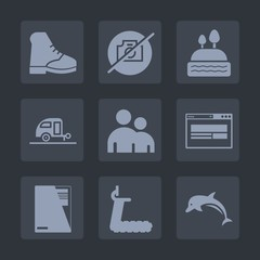 Premium set of fill icons. Such as document, doughnut, animal, no, dolphin, fitness, ocean, camper, business, picture, sign, muffin, file, trailer, boot, food, photo, cupcake, wildlife, sweet, wear