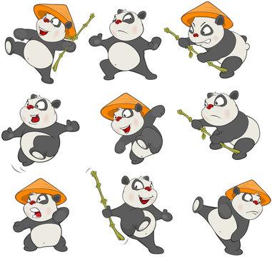 Set of  Cartoon Illustration. A Cute Panda Bear  for you Design