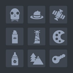 Premium set of fill icons. Such as technology, lighthouse, style, alien, art, baseball, forest, humanoid, station, sea, monster, extraterrestrial, object, creature, beauty, head, fiction, food, sport