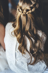 Back view of girl  hair curls