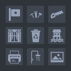 Premium set of fill icons. Such as america, saw, tool, print, curtain, bath, home, house, technology, houseboat, flag, trash, nation, wrench, interior, hammer, picture, national, apartment, boat, work