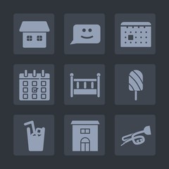Premium set of fill icons. Such as timetable, time, residential, graphic, sound, food, popsicle, bedroom, day, chat, smile, real, schedule, kid, event, calendar, music, juice, drink, trumpet, bed, ice
