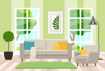 Interior design of the living room with modern furniture. Vector flat illustration.
