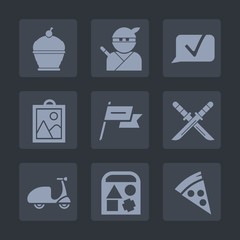 Premium set of fill icons. Such as play, state, waving, country, web, communication, sugar, picture, food, bakery, lunch, warrior, chat, nation, samurai, sweet, katana, sign, japan, delicious, ride