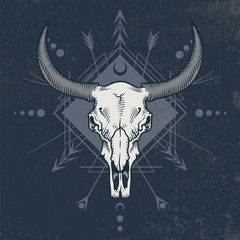 Bull skull in engraving graphic, ink technique. Vector illustration of bull skull with sacred geometry shapes on grunge background. Good for posters, t-shirt prints, tattoo design.
