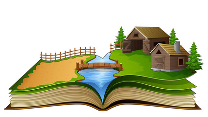 Open book with farm scene, barn and river on a white background