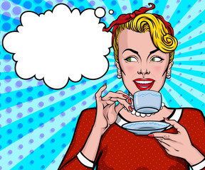 Female comic character. Amazed pretty woman holding cup of tea with speech bubble on the background. Mascot of a beautiful young girl in vintage, retro, pin up, pop art style.