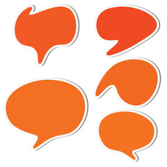 Set of orange speech sticker bubbles. Vector illustration.