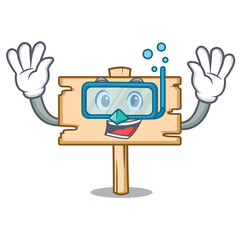 Diving wooden board character cartoon