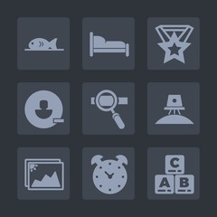 Premium set of fill icons. Such as drink, coffee, research, prize, alarm, remove, science, medal, pizza, room, seafood, watch, laptop, account, frame, kid, spaceship, award, ribbon, space, picture