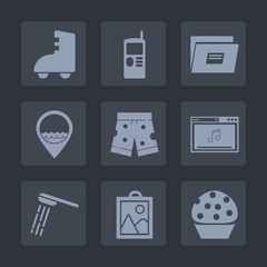 Premium set of fill icons. Such as skate, online, graphic, old, shorts, web, hygiene, roller, bathroom, template, image, phone, doughnut, screen, work, communication, sweet, picture, fashion, water