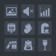 Premium set of fill icons. Such as business, backpack, antique, old, picture, retro, clothes, chart, music, drink, decoration, caffeine, school, folder, sound, glass, bag, document, information, blank