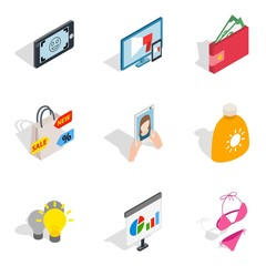 Missy icons set. Isometric set of 9 missy vector icons for web isolated on white background