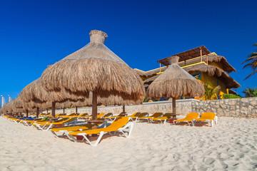Beach at Caribbean sea in Playa del Carmen, Mexico