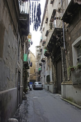 Italy, Apulia, alleys in the historic center of Taranto