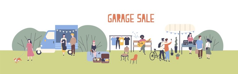 Horizontal web banner template for garage sale or outdoor festival with food van, men and women buying and selling goods at park. Flat cartoon colorful vector illustration for event advertisement.