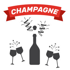Champagne bottle icon. Wine glass bottle. Champagne party vector.