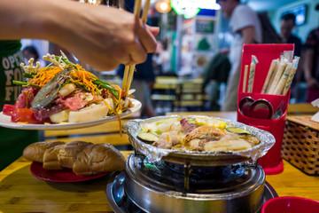 Seafood in Hanoi Bia Hoi corner in Vietnam