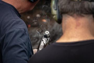 Opening Smoking Shotgun Barrels, One Shot Has Been Fired