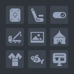 Premium set of fill icons. Such as game, card, circus, match, competitive, road, accident, auto, team, food, competition, transportation, gambling, old, poker, sale, kimono, cricket, car, championship