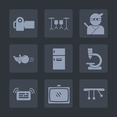 Premium set of fill icons. Such as sport, ninja, photography, equipment, japanese, home, ball, biology, lens, technology, drum, sound, music, tv, instrument, sword, pendulum, photo, food, sign, pin
