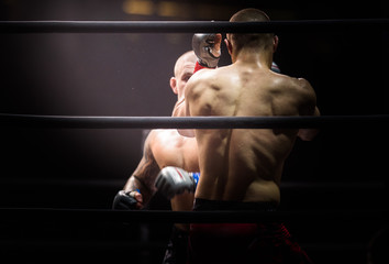 MMA Boxers fighters fight in fights without rules in the ring octagon