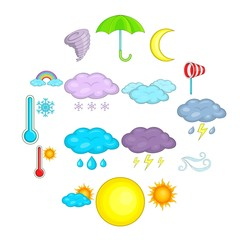 Weather icons set. Cartoon illustration of 16 weather vector icons for web