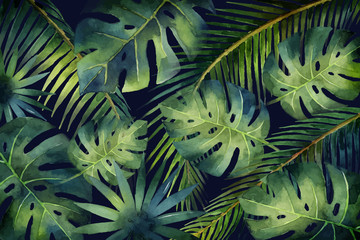 Watercolor vector banner tropical leaves and branches isolated on dark background.