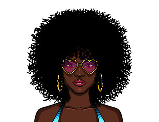 Vector colorful illustration of african american hippie woman in pink sunglasses isolated from white background. Girl with curly afro hairstyle and dark skin