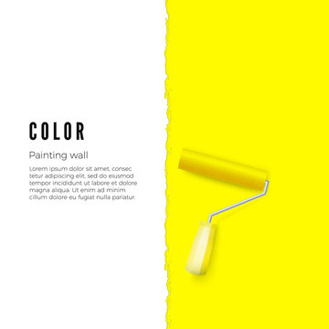 Paint roller with yellow paint and space for text or other design on vertical wall. Vector illustration