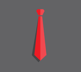 flat red necktie on gray background, business concept