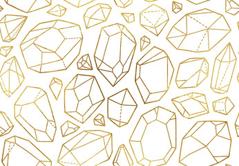 Golden decorative minerals, crystals and gems seamless pattern