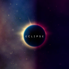 Solar eclipse. Abstract astral universe background. Rays of starlight burst out from behind the planet. Astronomy effect - sun eclipse. Vector illustration