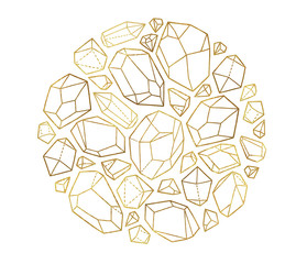 Golden decorative minerals, crystals and gems in the circle frame