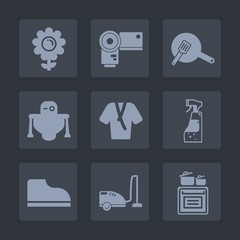 Premium set of fill icons. Such as machine, cooking, top, robot, cyborg, vacuum, oven, food, footwear, fashion, nature, lens, modern, bottle, spring, water, pot, photography, bathrobe, white, flower