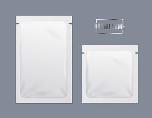 Realistic Detailed 3d White Disposable Foil Sachet Set. Vector