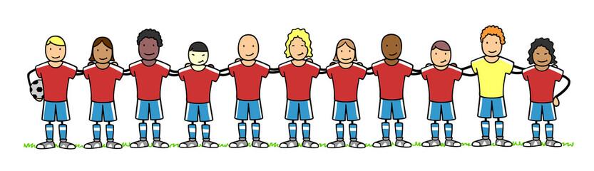 Multikulturelle Fußball Mannschaft als Team