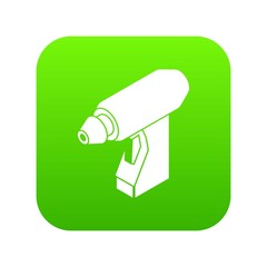 Manual welding torch icon green vector isolated on white background