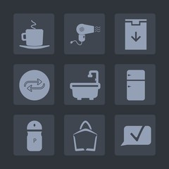 Premium set of fill icons. Such as sign, dryer, download, white, barber, arrow, hair, man, replace, substitute, food, shower, professional, cafe, , salt, fridge, pepper, mug, seasoning, web, sale, cup