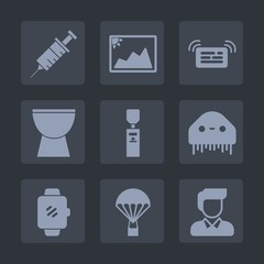 Premium set of fill icons. Such as extreme, equipment, parachuting, dental, music, fiction, paper, white, image, blank, tool, percussion, care, ufo, dentist, picture, male, medical, notification, jump