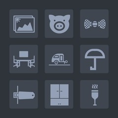 Premium set of fill icons. Such as card, red, piggy, picture, trailer, umbrella, flash, fashion, rain, agriculture, image, wine, elegance, alcohol, pig, table, hog, paper, vacation, work, old, office