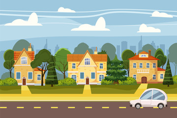 Suburban village of big city, trees, road, sky and clouds. Real estate, sale and rent house, mansion. Cottage Real Estates Cute Town Concept Cartoon Vector Illustration.