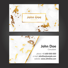 Realistic Marble texture business cards templates collection