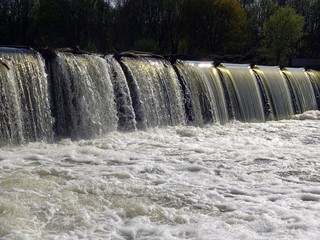 water dam on the Elster in the height of the Rosenthal in Leipzig